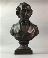 Lot 33-A BRONZED METAL BUST OF GENTLEMAN AND SIX VOLUMES OF THE PLAYS OF SHAKESPEARE