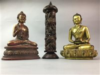Lot 8-A CHINESE BRASS FIGURE OF SHAO LAO, SEATED BUDDHAS AND A SCROLL HOLDER