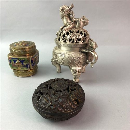 Lot 13-A CHINESE CENSER, LIDDED DISH AND AN ENAMEL JAR