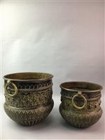 Lot 14-A SET OF THREE INDIAN BRASS GRADUATED PLANTERS