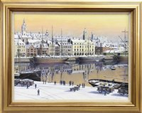 Lot 517-QUIET HARBOUR SCENE, AN OIL BY MALCOLM BUTTS