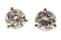 Lot 20-A PAIR OF DIAMOND STUD EARRINGS