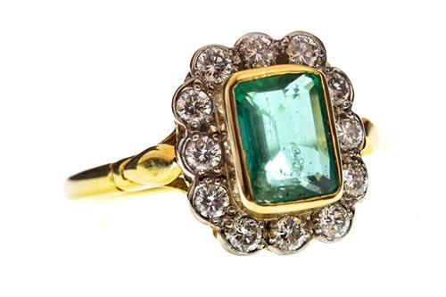 Lot 11-A GREEN GEM AND DIAMOND CLUSTER RING