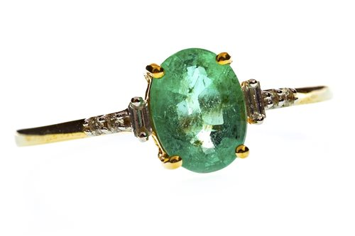 Lot 23-A GREEN GEM AND DIAMOND RING
