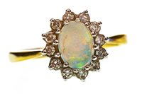 Lot 45-AN OPAL AND DIAMOND RING