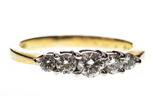Lot 12-A DIAMOND FIVE STONE RING