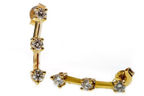 Lot 15-A PAIR OF DIAMOND DROP EARRINGS