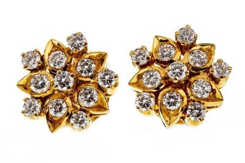 Lot 28-A PAIR OF DIAMOND CLUSTER EARRINGS