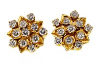 Lot 28-A PAIR OF DIAMOND CLUSTER EARRINGS
