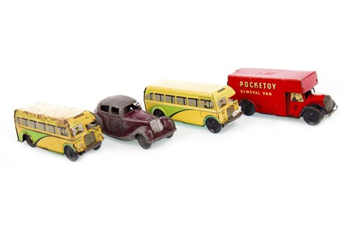 Lot 1713-A LOT OF TWO BRIMTOY POCKETOY CLOCKWORK COACHES AND TWO OTHER POCKETOY MODEL VEHICLES