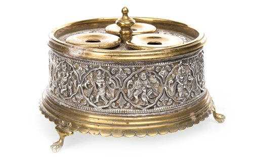 Lot 934-AN INDIAN BRASS INKWELL