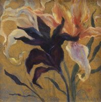 Lot 619-LILLIES ON GOLD, A MIXED MEDIA BY LAURA HUNTER