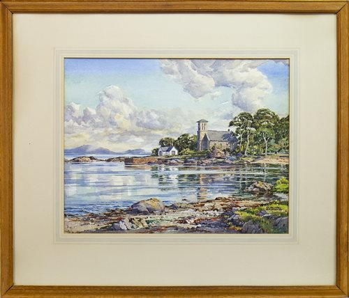 Lot 427-ASCOG CHURCH BUTE, A WATERCOLOUR BY STIRLING GILLESPIE