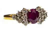 Lot 26-A RED GEM SET AND DIAMOND CLUSTER RING
