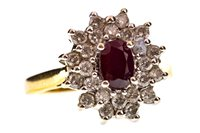 Lot 29-A RED GEM SET AND DIAMOND FLOWER CLUSTER RING