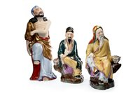 Lot 981-THREE 20TH CENTURY CHINESE FIGURES