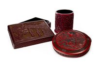 Lot 974-A CHINESE LACQUERED BRUSH POT AND TWO BOXES