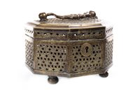 Lot 972-AN INDO-PERSIAN BRASS CASKET