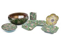 Lot 928-A CHINESE WOOD BOWL, PIN DISHES AND A VESTA HOLDER