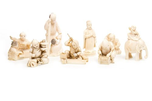 Lot 923-A LOT OF EIGHT JAPANESE IVORY CARVINGS