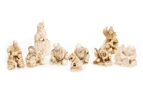 Lot 924-A LOT OF NINE JAPANESE IVORY CARVINGS