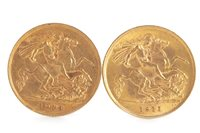 Lot 503-TWO GOLD HALF SOVEREIGNS, 1911 AND 1913