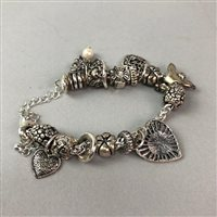 Lot 11-A COLLECTION OF SILVER AND OTHER JEWELLERY INCLUDING CHARM BRACELETS