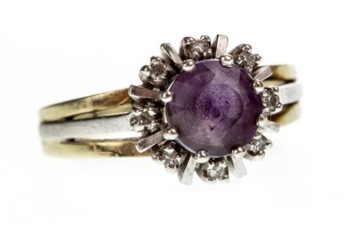 Lot 9-A GEM AND DIAMOND RING