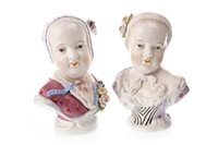Lot 1265 - A PAIR OF SITZENDORF BUSTS OF YOUNG WOMEN