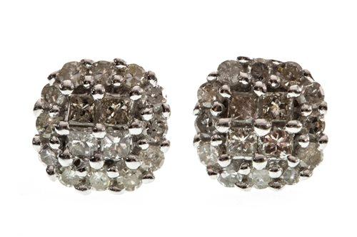 Lot 23-A PAIR OF DIAMOND CLUSTER EARRINGS