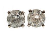 Lot 50-A PAIR OF DIAMOND SINGLE STONE EARRINGS