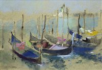 Lot 412-GONDOLAS, A PASTEL BY GEORGE MILLER