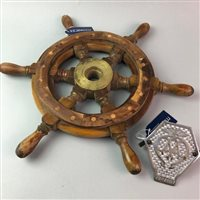 Lot 17-A SMALL SHIPS WHEEL AND A CHROME-PLATED AA VEHICLE BADGE