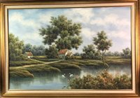 Lot 21-A MODERN EUROPEAN SCHOOL, RURAL LANDSCAPE WITH SWANS