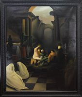 Lot 721 - CAUGHT IN CENTRE OF DECAYING RUINS, AN OIL BY STUART MCALPINE MILLER