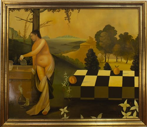 Lot 655 - NAKED FEMALE ON CHEQUERED TABLE, AN OIL BY STUART MCALPINE MILLER