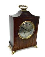 Lot 1455-INLAID MAHOGANY MANTEL CLOCK