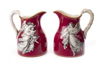 Lot 1267 - A PAIR OF J. & M. P. BELL BALUSTER JUGS,transfer decorated with the Morning & Even, on a crimson ground, also inscribed and dated 'D. & M. Dick 1878', 18 cm high (2)
