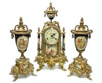 Lot 1403-A REPRODUCTION CERAMIC AND GILT METAL CLOCK GARNITURE