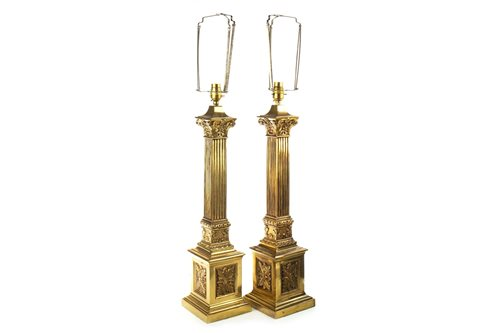 Lot 804-A PAIR OF BRASS CORINTHIAN PILLAR TABLE LAMPS AND ANOTHER