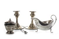 Lot 803-A PAIR OF EDWARDIAN CANDLESTICKS AND SILVER TABLEWARE