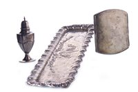 Lot 805-AN EDWARDIAN SILVER TRAY, CIGARETTE CASE AND VICTORIAN SALT SHAKER