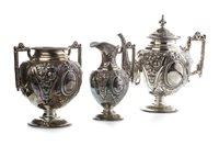 Lot 807-A VICTORIAN SILVER THREE PIECE TEA SERVICE