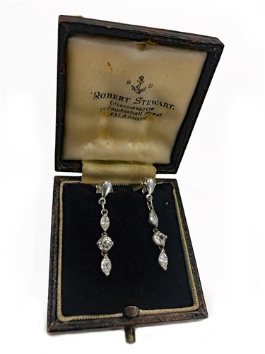 Lot 7-A PAIR OF DIAMOND DROP EARRINGS