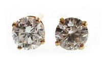 Lot 14-A PAIR OF DIAMOND STUD EARRINGS
