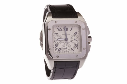 Lot 753-GENTLEMAN'S CARTIER SANTOS 100 STAINLESS STEEL...