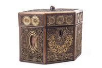 Lot 815-A GEORGE III MAHOGANY ROLLED PAPER HEXAGONAL TEA CADDY
