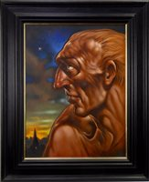 Lot 519-BIBLICAL HEAD I, JACOB, AN OIL BY PETER HOWSON