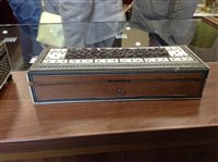 Lot 813-AN EARLY 20TH CENTURY INDIAN INLAID OBLONG JEWEL BOX AND A GLOVE BOX