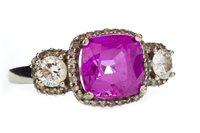 Lot 75-A PINK GEM SET AND DIAMOND RING